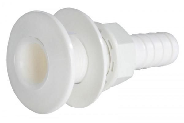 Borddurchlass Kunststoff weiß mit Schlauchanschluß