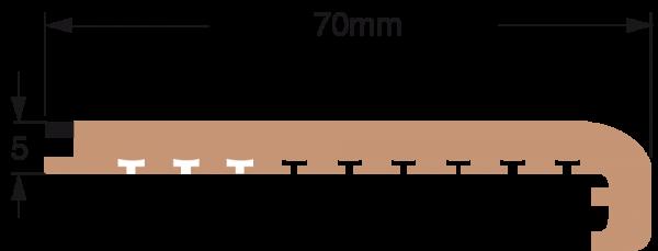 DEK-KING 70mm x 10m schwarze Fuge mit Ecke für Stufen
