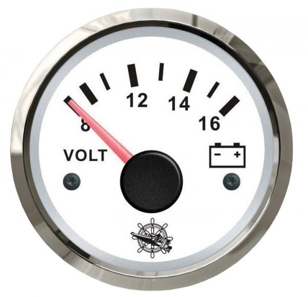 Voltmeter 8/16 V weiß/poliert