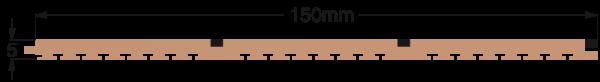 DEK-KING 150mm Dreifach-Planke schwarze Fuge 10m